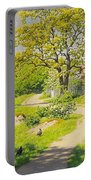 Farm Scene With Pecking Chickens Portable Battery Charger
