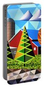 Farm With Three Pines And Cow Portable Battery Charger