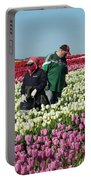 Farm Workers In Tulips Portable Battery Charger