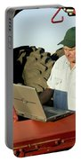 Farmer With Laptop And Cell Phone Portable Battery Charger