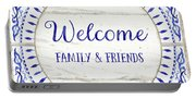 Farmhouse Blue And White Tile 6 - Welcome Family And Friends Portable Battery Charger