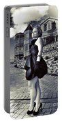 Fashionable Woman And Mansion Portable Battery Charger