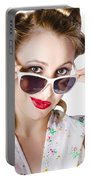 Fashionable Woman In Sun Shades Portable Battery Charger