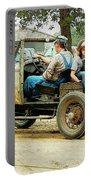 Father And Daughter In The Tractor Parade Portable Battery Charger