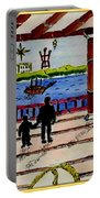 Father And Son On The Porch Portable Battery Charger