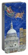 Father Christmas Flying Over London Portable Battery Charger