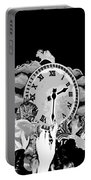 Father Time In Black And White Portable Battery Charger