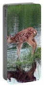 Fawn At The Water Hole Portable Battery Charger