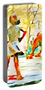 Fearless Girl And Wall Street Bull Statues 6 Watercolor Portable Battery Charger