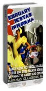 February Fiestas In Havana - Woman Dancing At Carnaval - Retro Travel Poster - Vintage Poster Portable Battery Charger