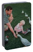 Feeding Ducks With Daddy Portable Battery Charger