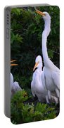 Feeding Time In The Great White Egret Rookery Portable Battery Charger