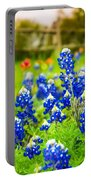 Fence Me In With Flowers Squared  Portable Battery Charger