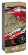 Ferrari 360 Michelotto Le Mans Race Car. Two Drawings One Print Portable Battery Charger