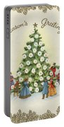 Festive Christmas Tree In A Town Square Portable Battery Charger