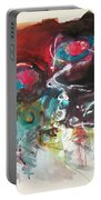 Fiddleheads- Landscape Painting For Sale Red Blue Green Portable Battery Charger