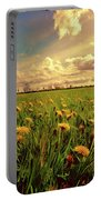 Field Of Dandelions At Sunset Portable Battery Charger