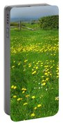 Field With Yellow Flowers Portable Battery Charger