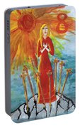 Fiery Eight Of Swords Illustrated Portable Battery Charger