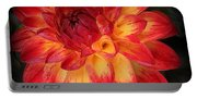 Fiery Red And Yellow Dahlia Portable Battery Charger