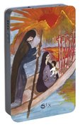 Fiery Six Of Swords Illustrated Portable Battery Charger