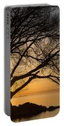 Fiery Sunrise - Like A Golden Portal To Another World Portable Battery Charger