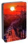 Fiery Sunset In Belgrade Belgradehenge Portable Battery Charger