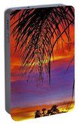 Fiery Sunset With Palm Tree Portable Battery Charger
