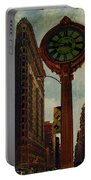 Fifth Avenue Clock And The Flatiron Building Portable Battery Charger