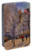 Fifth Avenue - Late Winter At The Met Portable Battery Charger
