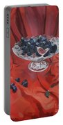 Figs And Grapes On Red  Portable Battery Charger