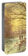Figures On A Path Before A Village In Winter Portable Battery Charger
