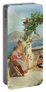 Figures On A Terrace In Capri  Portable Battery Charger
