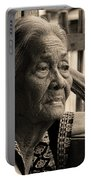 Filipino Lola Image Number 33 In Black And White Sepia Portable Battery Charger