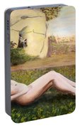 Fine Art Female Nude Niki Goddess Diana Reclining Multimedia Painting Portable Battery Charger