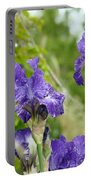 Fine Art Floral Prints Purple Iris Flowers Canvas Irises Baslee Troutman Portable Battery Charger