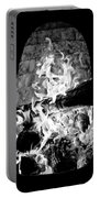 Fireplace Black And White Portable Battery Charger