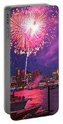 Fireworks Over The Boston Skyline Boston Harbor Illumination Portable Battery Charger