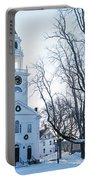 First Parish Church Manchester Ma North Winter Snow Portable Battery Charger