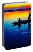 Fisherman Boat On Summer Sunset, Travel Photo Poster Portable Battery Charger