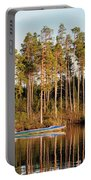 Fisherman On Evening Lake Portable Battery Charger