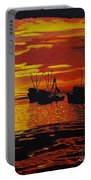 Fishing Boats At Sunset Portable Battery Charger