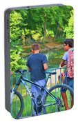 Fishing Friends, Azay Le Rideau, Loire Valley, France Portable Battery Charger