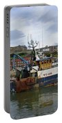 Fishing Trawler Wy 485 At Whitby Portable Battery Charger by Rod Johnson