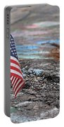 Flag In A Crack In The Pavement Portable Battery Charger