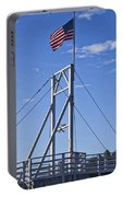 Flag On Perkins Cove Bridge - Maine Portable Battery Charger
