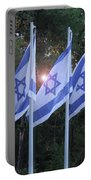 Flags Of Israel Blowing In The Wind Portable Battery Charger