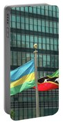 Flags Of Various Nations Outside The United Nations Building. Portable Battery Charger