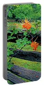 Flame Azalea And Fence Portable Battery Charger