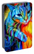 Flaming Blue And Orange Kitty Cat Tiger Resting Gently From The Prowl Portable Battery Charger
